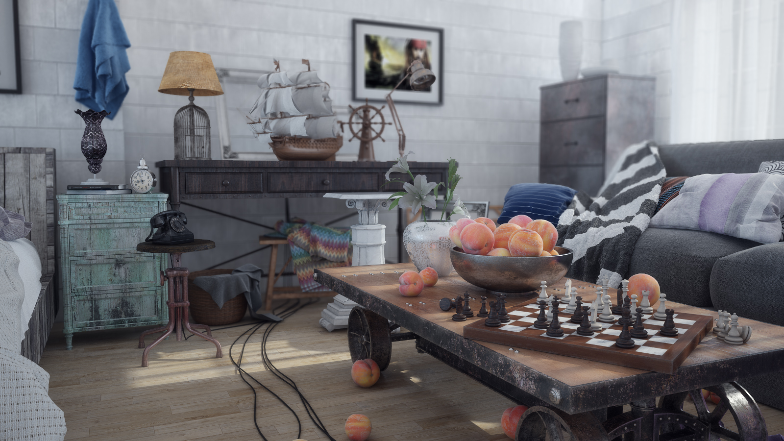 Realistic interior visualization in VrayForC4d , Industrial style room